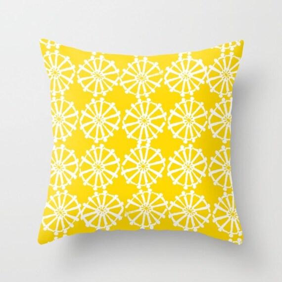 OUTDOOR Throw Pillow . Yellow Outdoor Pillow . Yellow patio cushion . Modern Geometric Pillow Wheel . 16 18 20 inch . Lumbar Pillow