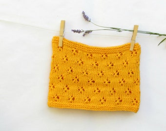 Mustard Yellow scarf / Cotton scarf / Knit vegan clothing / Cotton lace scarf / romantic clothing