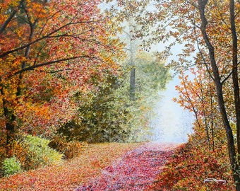 Fall Landscape - Autumn Leaves - Fall Painting - Nature Art - Forest Painting - Matted Print