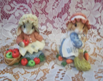 """Blushing Bunnies """"Bountiful Blessings"""" and """"Swept Up"""" Figurines"""