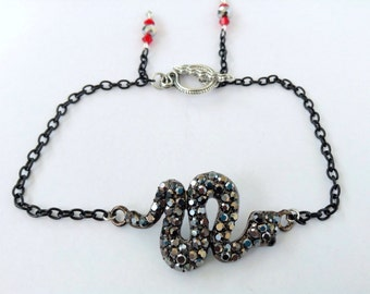 Black Diamond Rhinestone SNAKE Anklet with Swarovski crystals and spikes