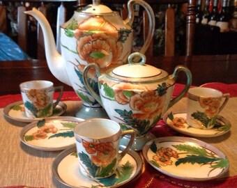 Japanese orange floral Teapot with tea cups, saucers & sugar vase
