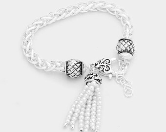 Antique Silver bracelet with Pearl Tassel Charm