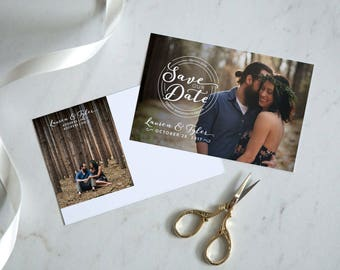 Personalized Save The Date Postcard Circle Design