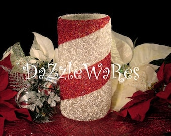 """CHRISTMAS Beaded Vase 10"""" Cylinder- Candle Holder-Spiral -Candy Cane-Holiday Centerpieces-Wedding-Home Decor-Hostess Gifts-Candle Decor-Xmas"""