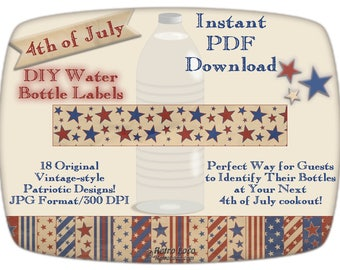 Water BOTTLE LABELS-4th of July-Printables-Patriotic Party Supplies-Wrappers-Digital Instant Downloads-Vintage Independence Day-diy-Drink ID