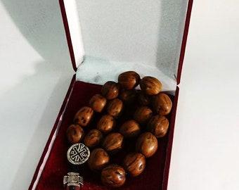 Holy Rosary - Prayer Rope 20 Knots Brown aromatic nutmeg with Holy Myrrh - Mount Athos Prayer Rosary 20 beads - Nutmeg Aroma