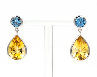 Earrings - White Gold 18k/750 - Natural topaz and citrine of 10.25 ct.