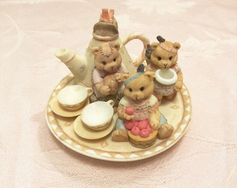 Mini 3 Sister Bears Tea Party Set. Small Cups And Saucers, Sugar And Creamer, Indian Bear Tea Pot. Tribal Detailed Tea Set