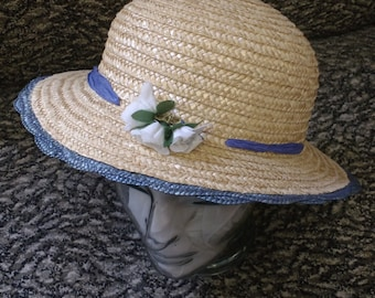 Vintage Summer Straw Hat with Blue Rim and Flowers