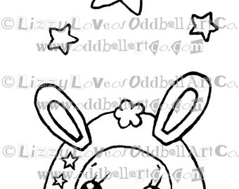 Digi Stamp Digital Instant Download Kawaii Creature w/ Stars Image No. 96 by Lizzy Love