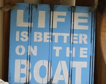LIFE is Better on the BOAT Sign/Lake house/Black Board/Medium Blue Base/White Font