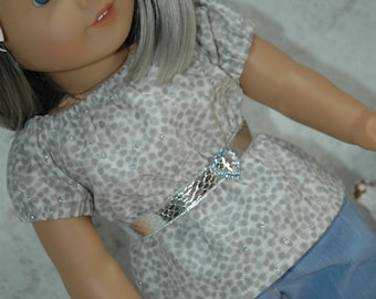 american, made, girl, doll, fits, 18 inch doll, peasant, top, shirt, Valentine