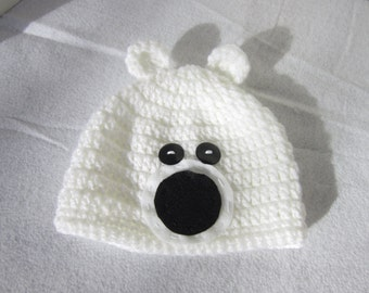 White Polar Bear Cap, Polar Bear Baby Hat, Bear Hat, Crochet Baby Beanie with Ears MADE TO ORDER, Add a Diaper Cover, Gift for Baby Shower