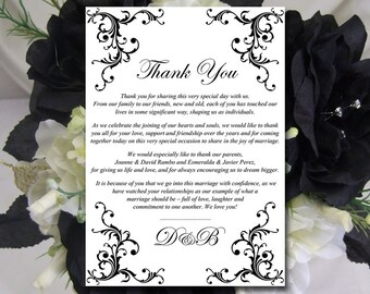 """Wedding Thank You Card Template Instant Download - Printable Wedding Thank You """"Diana"""" Black - Printable Wedding Card Template"""