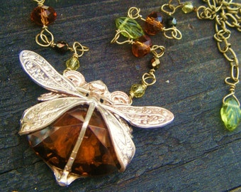 The Amber Dragonfly Necklace-Harvest Pattern Art Nouveau with Mysterious Warm Honey Amber Colored Clear Glass Stone