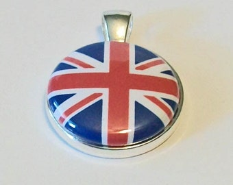 Unique Union Jack British Flag Red White and Blue  Round Silver Pendant
