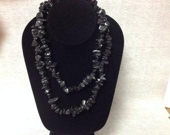 Vintage Black Stone Beaded Long Wrap Necklace