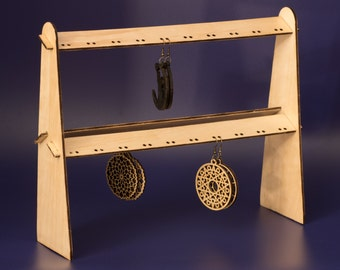 Wooden Earring stand -Earring Holder-Earring Rack - Foldable space saving stand