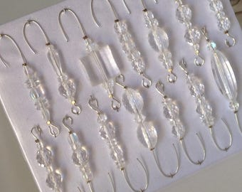 Crystal Bead Assortment - Christmas Ornament Hanger Hooks - Silver Wire - FREE SHIPPING