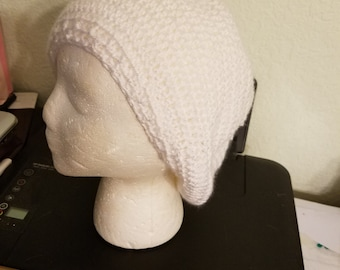 Crocheted White Slouchy Hat