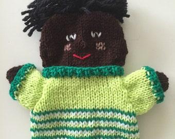 Black knitted handpuppet, boy, teacher puppets