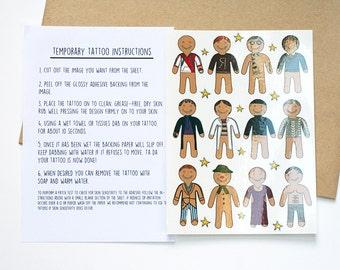 Gingerbread Parody Illustration A6 Sheet of Temporary Tattoos (Harry Potter, Pokemon, Sherlock, Poldark, The Snowman)
