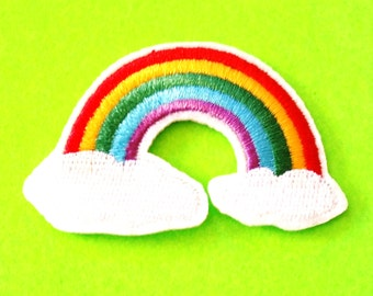Rainbow and Clouds Retro 80s Cartoon Pride Fully Embroidered Iron or Sew On Patch - More Styles