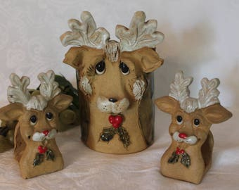 Collection of HINDT Pottery Creative Clay of California Christmas Reindeer Collectibles in Excellent Condition
