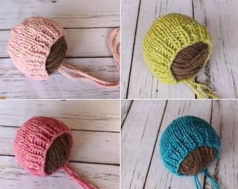 Newborn bonnet Knit Merino bonnet hand spun newborn hat newborn photo prop