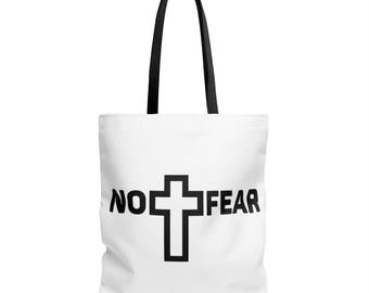 No Fear   1 JOHN 4:18   Bible Quote   Christian Quote   Christian Tote Bag   Scripture Tote Bag   Bible Quote Tote Bag   Tote Bags