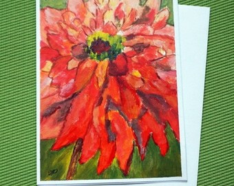 RED DAHLIA - Hand Painted Watercolor Greeting Card