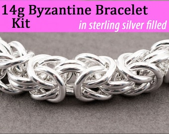 14g Byzantine Bracelet Chainmaille Kit in Silver Fill