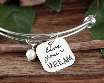 Live you Dream, 2018 Graduation Bracelet, Personalized Bracelet, Inspirational Gift, Class of 2018 High School, College Graduation Gift