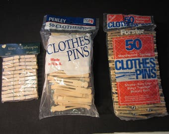 """124 wooden clothes pins, 24 mini 1 3/4"""" w/springs, 50 3"""" w/ springs, 50 one piece old fashioned 3 3/4"""", for crafts"""