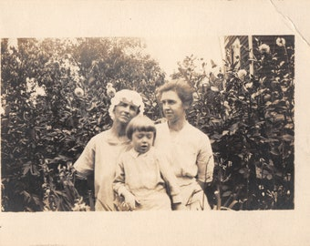 1920's Real Photo Postcard RPPC Family Sisters Women w/ Child in Flower Garden