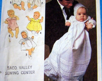 Vintage 1970s Baby's Wardrobe Sewing Pattern Simplicity 8971 Uncut Complete