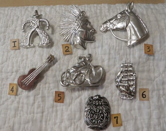 Vintage Metalised Plastic Boys Brooches From England Pin back - You Choose -