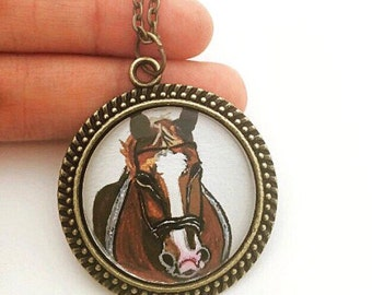Personalized Horse Pendant Necklace - Custom Horse Portrait - Horse Memorial Jewelry - Equestrian Gifts - Horse Jewelry - Horse Lover Gifts