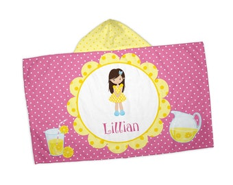 """Personalized Hooded Towel for Kids - Lemonade Stand Girl Yellow Flower Pink Dots, 24"""" x 42"""" Hooded Beach Towel"""