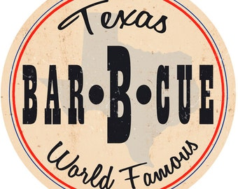 Bar-B-Cue Texas Barbecue Food Wall Decal #48768