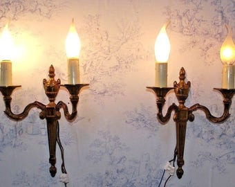 Pair French Bronze Empire Style Double Wall Sconces 1930s - French Vintage. French Wall Sconce. French Lighting. Empire Style Wall Sconce.