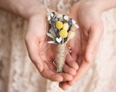 dried flower boutonniere lapel pin yellow flower boutonniere lavender Groomsmen buttonhole natural greenery flower boutonniere MEADOW