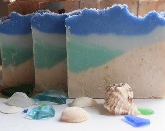 Sea Glass Soap, All Natural Soap, Handmade Soap, Bath Soap, Cold process Soap, Homemade Soap, Artisan Soap, Gifts For Her, Sea Salt, Ocean