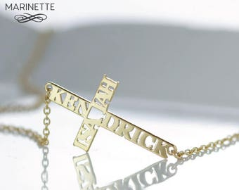 Solid Gold Sideways personalized cross name necklace - Solid 14K gold -