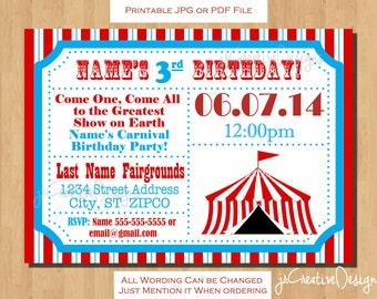 Circus themed party Circus Birthday invitation Ticket invitation Circus Invitation Carnival Invitation Carnival Birthday Party Invitation