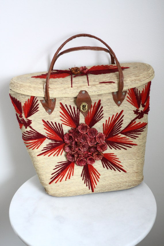 1970s leather market bag  // 1970s straw bag // vintage purse