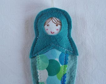 Russian doll felt hanging blue and turquoise