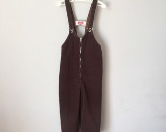 Vintage 1950s Overalls - 50s 60s Vanta Chocolate Brown Corduroy Overalls Playsuit Winter Longalls Toddler Child 2T 3T 3