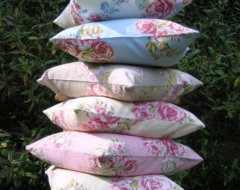 """Pillow Cover, cottage chic, cushion cover,  16x16"""" or 18x18"""", Pink,Taupe, Blue, Sage Green, White, Roses Pillow Cover, Roses Cushion Cover"""